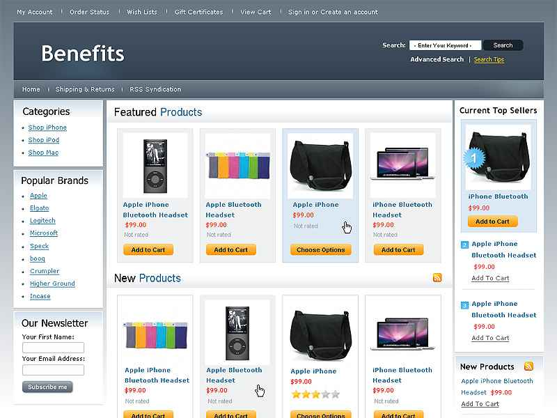 Shopping Cart Software Template